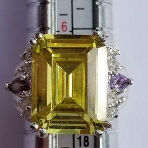 Beautiful Lemon Quartz Amethyst White Spinel Ring